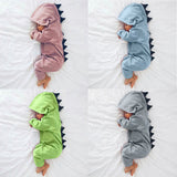 Cartoon Dinosaur Hooded Rompers 100% Cotton Long Sleeve