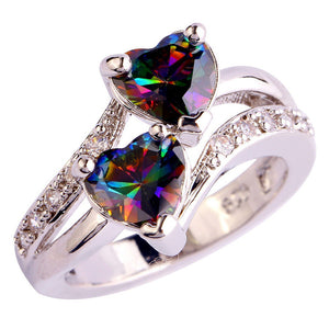 Heart Cut Rainbow & White Topaz Gemstone Silver Ring