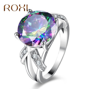 Colorful White Gold Cubic Zircon Ring