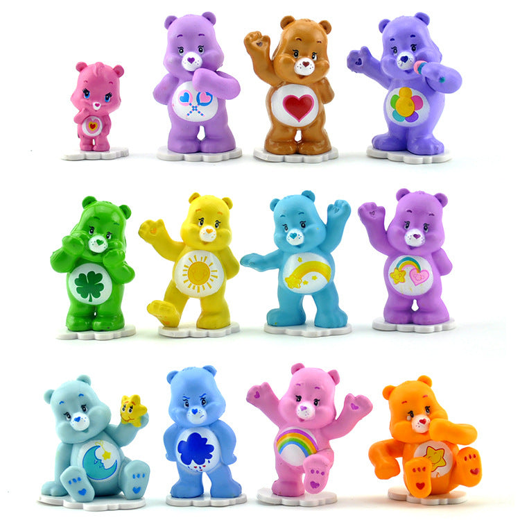12pcs/set  Anime Cartoon Bear Mini PVC Action Figures Toys 3-5cm Collectible Colorful Bears Model Dolls For Kids Toy Gift