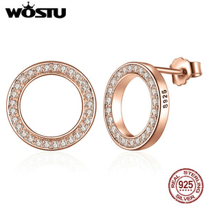 925 Sterling Silver & Rose Gold Color Forever Stud Earrings With Clear CZ