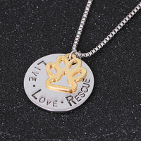 Round Letter Dog Paw Necklace Live Love Rescue