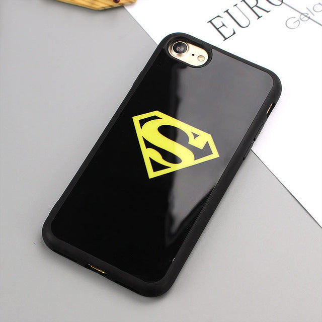 Black Mirror Phone Case for iPhone 6 6s SE 5S Superman Batman Silicone Back Cover for iPhone 8 7 Plus