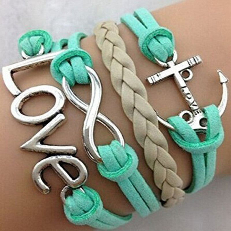 Handmade Adjustable Love Anchor Charms Multilayer Bracelet