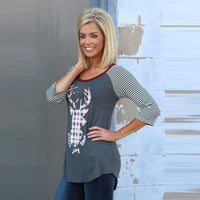 Womens ELK Print Striped Splice Round Neck Top
