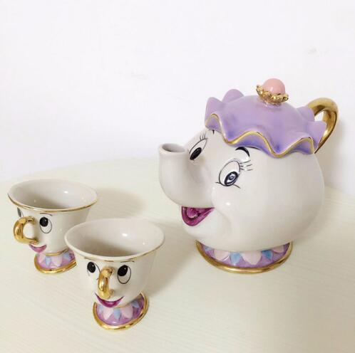 [1 POT + 2 CUPS] Beauty And The Beast Tea Set Mrs Potts Teapot + Chip Cup