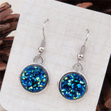 "Handmade Drusy Drop Earrings Blue/Silver AB Color 34mm(1 3/8"") x 15mm( 5/8""), 1 Pair"