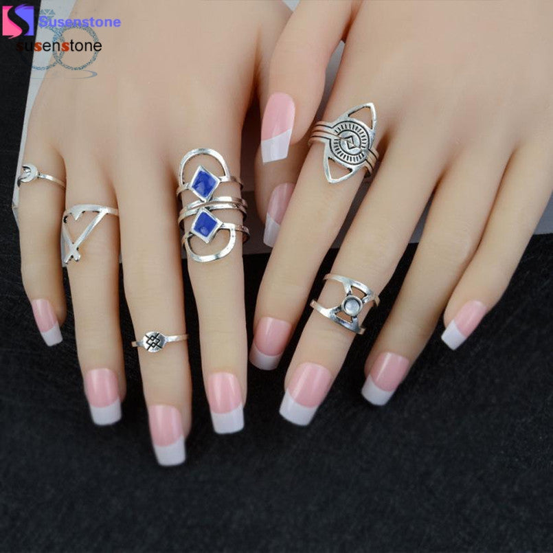 8pcs/Set Women Bohemian Vintage Silver Stack Rings Blue