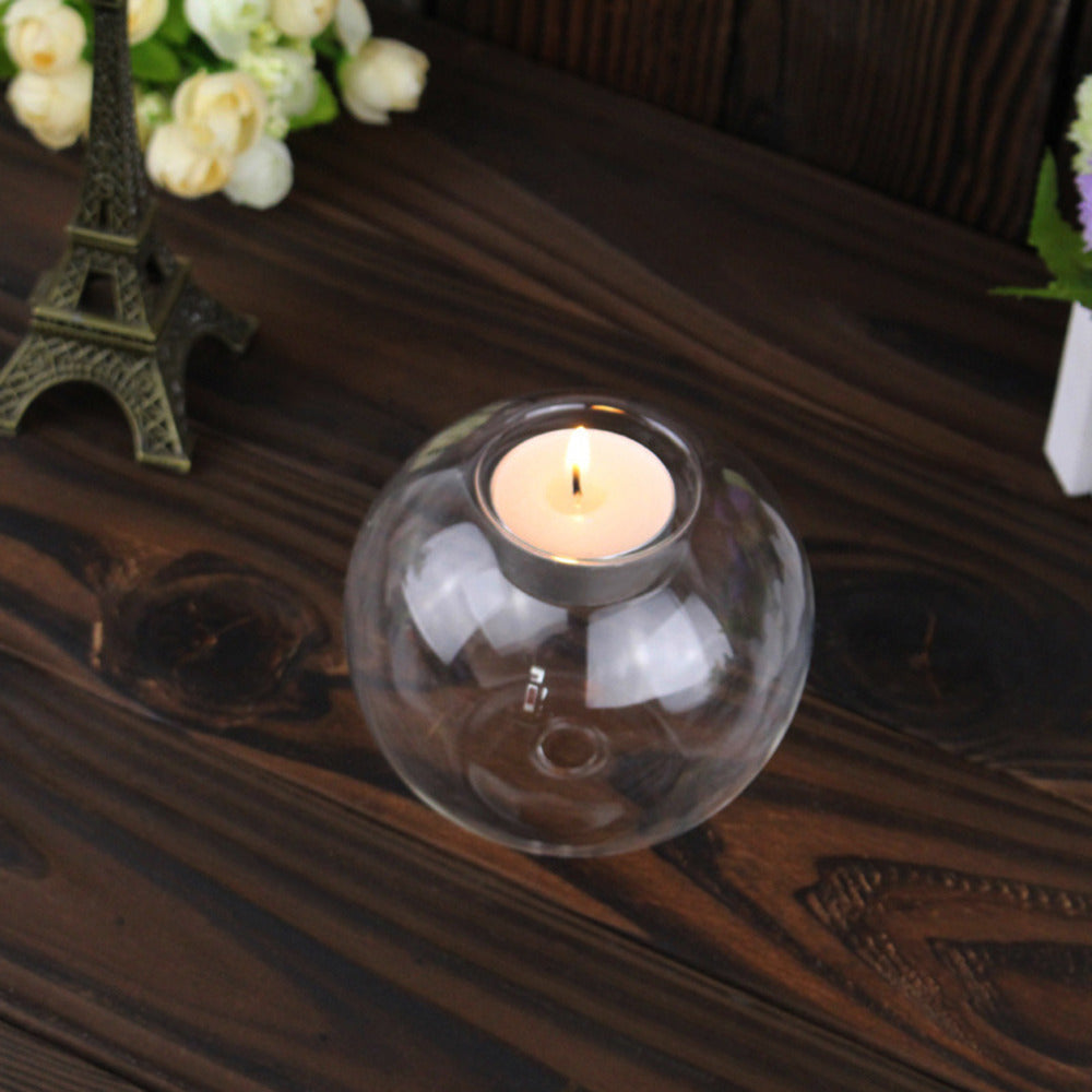 8CM/10CM/12CM Clear Round Hollow Heat Resistant Glass Candle Holder