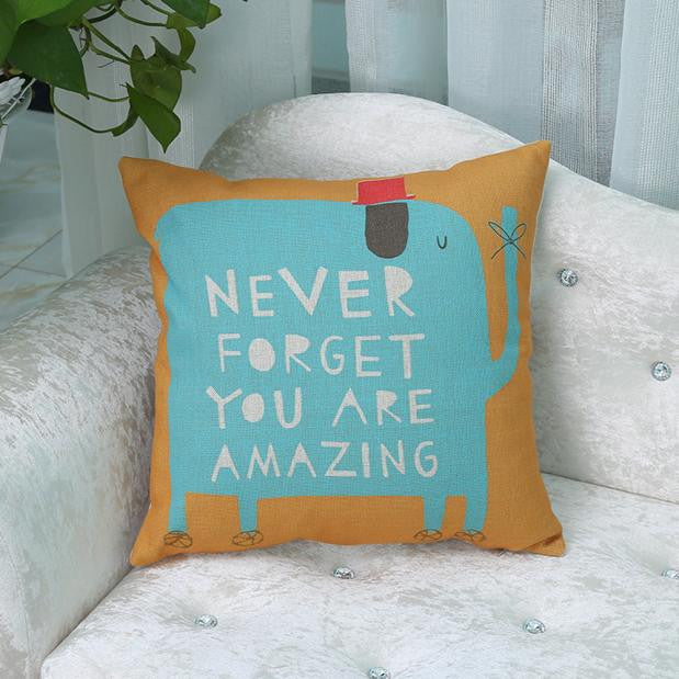 Never Forget Elephant Cushion Cover