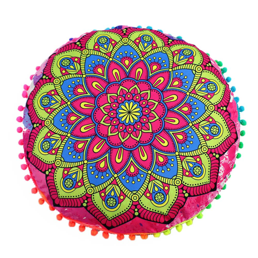 Indian Mandala Floor Pillows Round Bohemian Cushion Cover