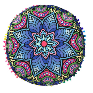 Flower Indian Mandala Floor Pillows Round Bohemian Cushion Cover