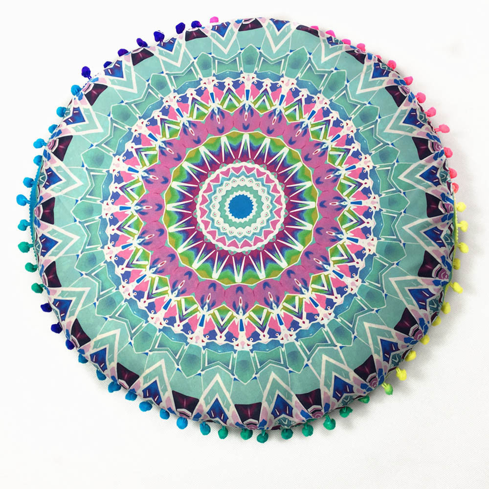 Indian Mandala Floor Pillows Round Bohemian Cushion Cover Case