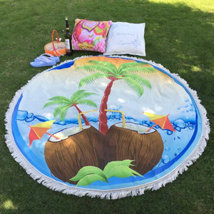 Round Tropical Beach Throw