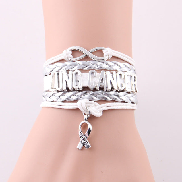 Infinity  hope Charm Lung Cancer Awareness Bracelet