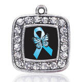 Addiction Recovery Square Crystal Pendant Antique Silver Plated