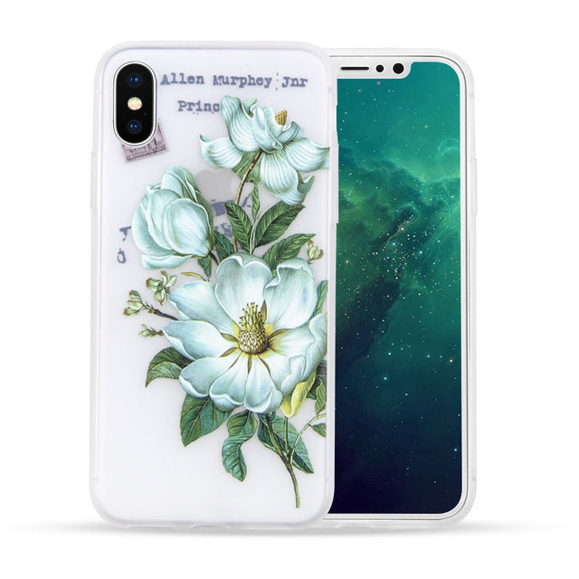 Flower Soft Case For iPhone 8 7 6 6S Plus X Case Floral Fairy Cover Transparent Silicone Cover for iPhoneX