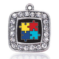 Autism Awarness Jigsaw Puzzle Square Charm Antique Silver Plated Crystal Pendant