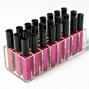 Crystal 24 Spaces Clear Acrylic Lipstick Organizer With Lid