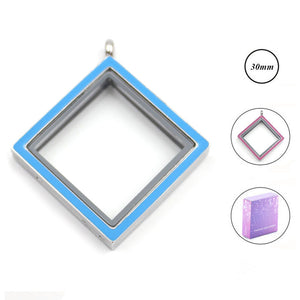 Stainless Steel Blue/Pink Double Sided Square Memory Locket Pendant