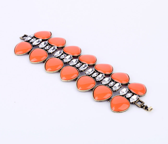 Bohemia Orange Gem Wide Bracelet