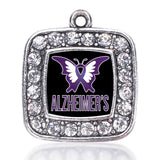 Alzheimers Awareness Butterfly Square Antique Silver Plated Crystal Pendant
