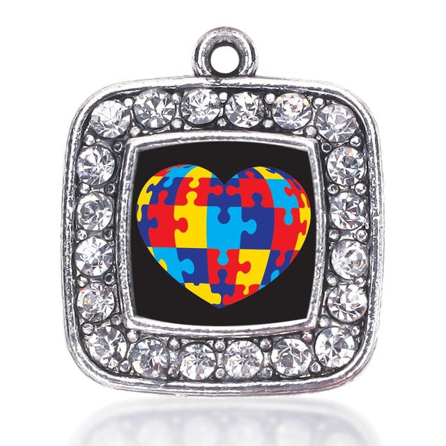 Autism Awareness Heart Square Crystal Pendant Antique Silver Plated