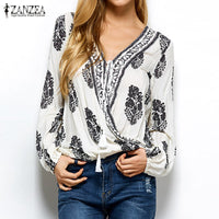 Womens Vintage V Neck Long Sleeve Loose Shirt