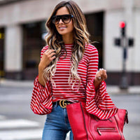 Womens Long Flare Sleeve Striped Shirt O-neck Top