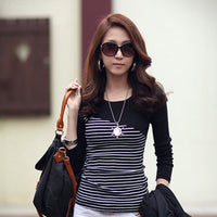 Women's Striped Splice Round Neck Long Sleeve Top