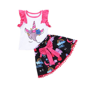 Girls Unicorn Top + Skirt Outfit 0-4T