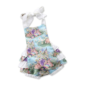 Girls Cartoon Rabbit Floral Ruffled Romper 6-24M