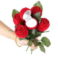 1pcs Red Rose Shaped Ring Box