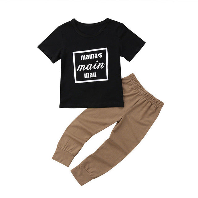 Boys Mama's Main Man Short Sleeve Top + Long Pants 2pcs