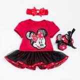 Girls Minnie Mouse Cotton Dress + Headband + Shoes
