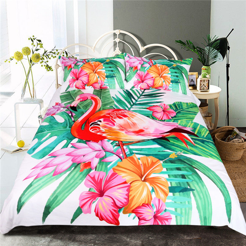 Flamingo Bedding Set 3pcs Duvet Cover and Pillowcases