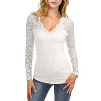 Womens Long Sleeve Lace V-Neck Top