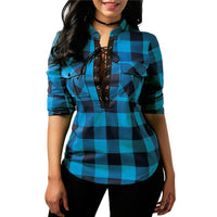 Womens Plaid Long Sleeve Top