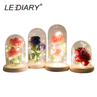 Rose Flower LED Light Glass Bottle