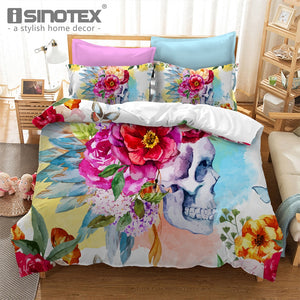 Floral Skull Bedding Set 3 Pieces Duvet Cover + Pillowcases