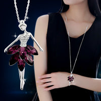 Crystal Plated Ballerina Necklace