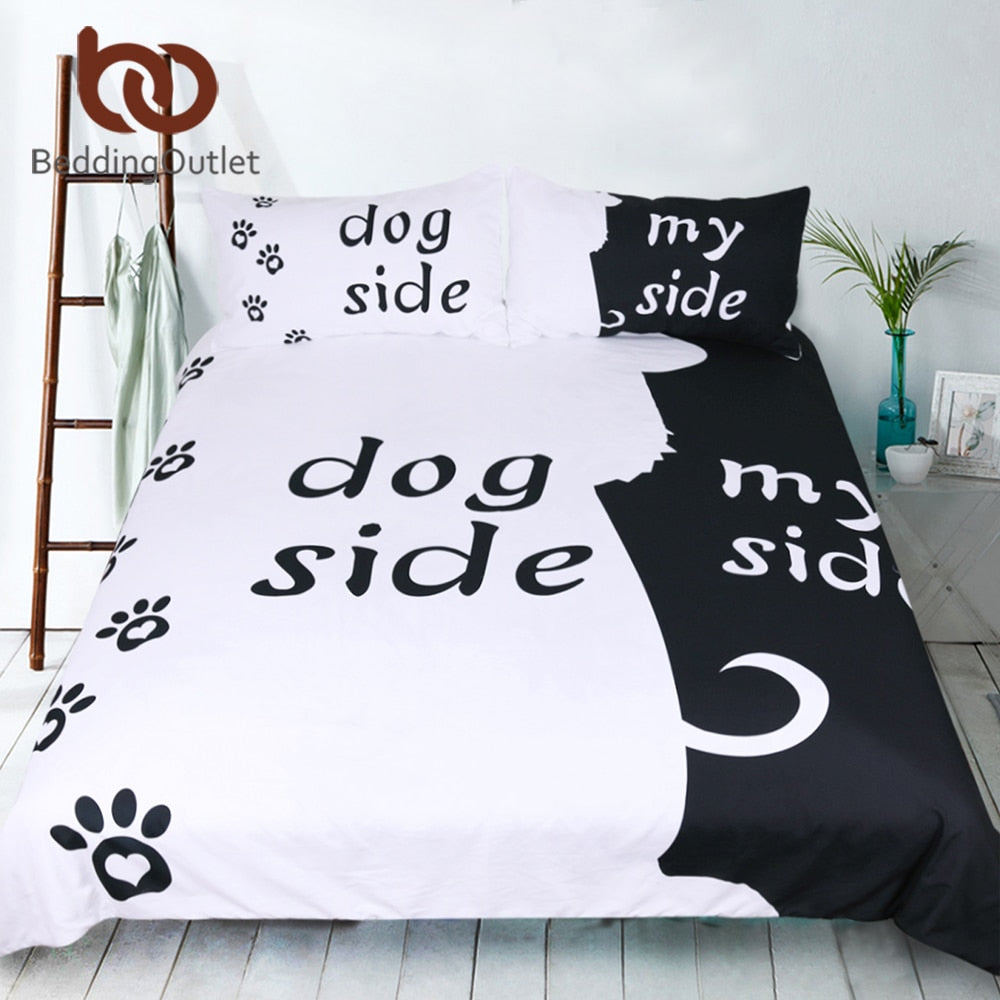 Dog Side and My Side Duvet Cover + Pillowcase/s