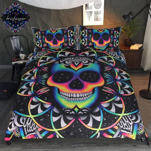 Colourful Skull Bedding Set Duvet Cover + Pillowcases