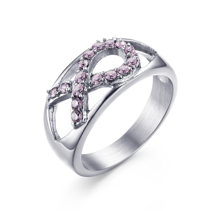 Stainless Steel Pink Crystal Breast Cancer Awareness Ribbon Ring  US Size 6-8