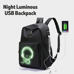 Luminous USB Charge Backpack