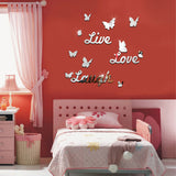 DIY Mirror Butterfly Live Love Laugh Wall Sticker Home Decor Art