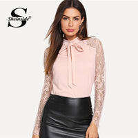Womens Tie Neck Lace Sleeve Top