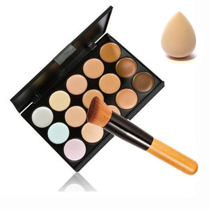 15 Color Concealer Palette + Wooden Handle Make up Brush + Sponge Puff