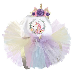 Girls 1st Birthday Romper + Tutu + Headband