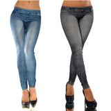 Jean Leggings Mid Waist Seamless Stretchy Slim Elastic Ankle-Length Pencil Pants